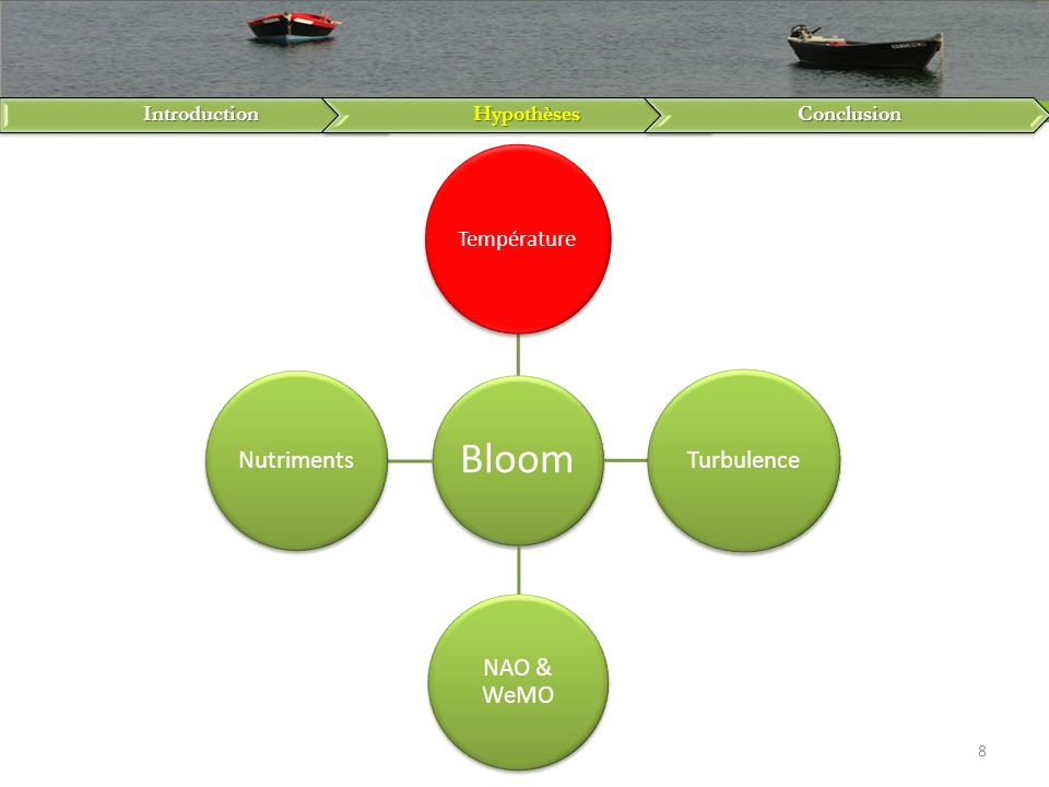 IntroductionHypothèsesConclusion 8 Bloom Température Turbulence NAO & WeMO Nutriments