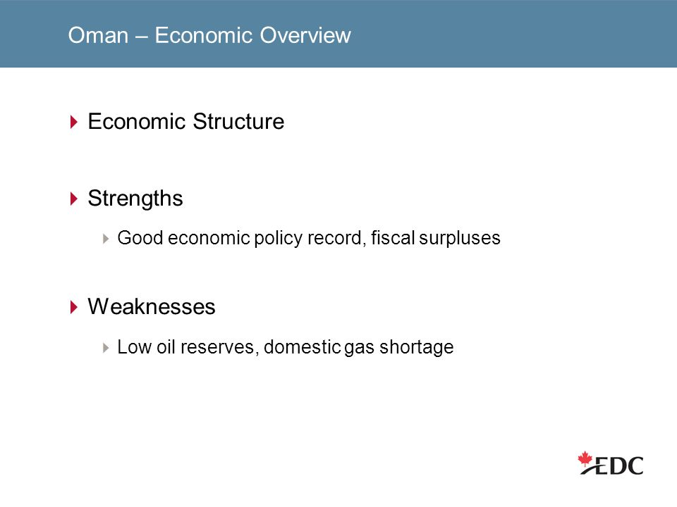 Oman – Economic Overview Economic Structure Strengths Good economic policy record, fiscal surpluses Weaknesses Low oil reserves, domestic gas shortage