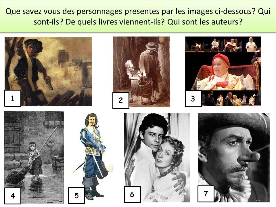 Que savez vous des personnages presentes par les images ci-dessous? Qui sont-ils? De quels livres viennent-ils? Qui sont les auteurs? 1 2 3 4 5 6 7
