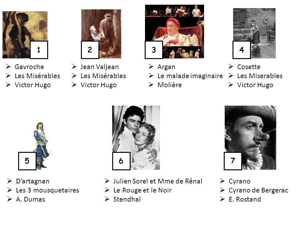 1234 567 Gavroche Les Misérables Victor Hugo Jean Valjean Les Misérables Victor Hugo Argan Le malade imaginaire Molière Cosette Les Miserables Victor