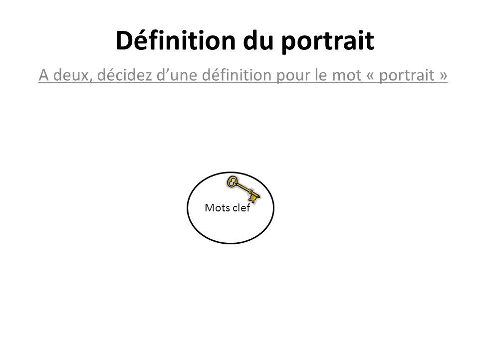 Définition du portrait A deux, décidez dune définition pour le mot « portrait » Un portrait est une œuvre picturale, sculpturale, photographique, ou littéraire représentant une personne réelle ou fictive.