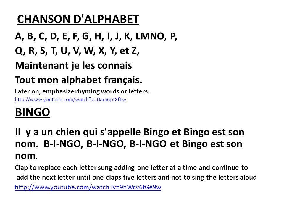 CHANSON D'ALPHABET A, B, C, D, E, F, G, H, I, J, K, LMNO, P, Q, R, S, T, U, V, W, X, Y, et Z, Maintenant je les connais Tout mon alphabet français. La