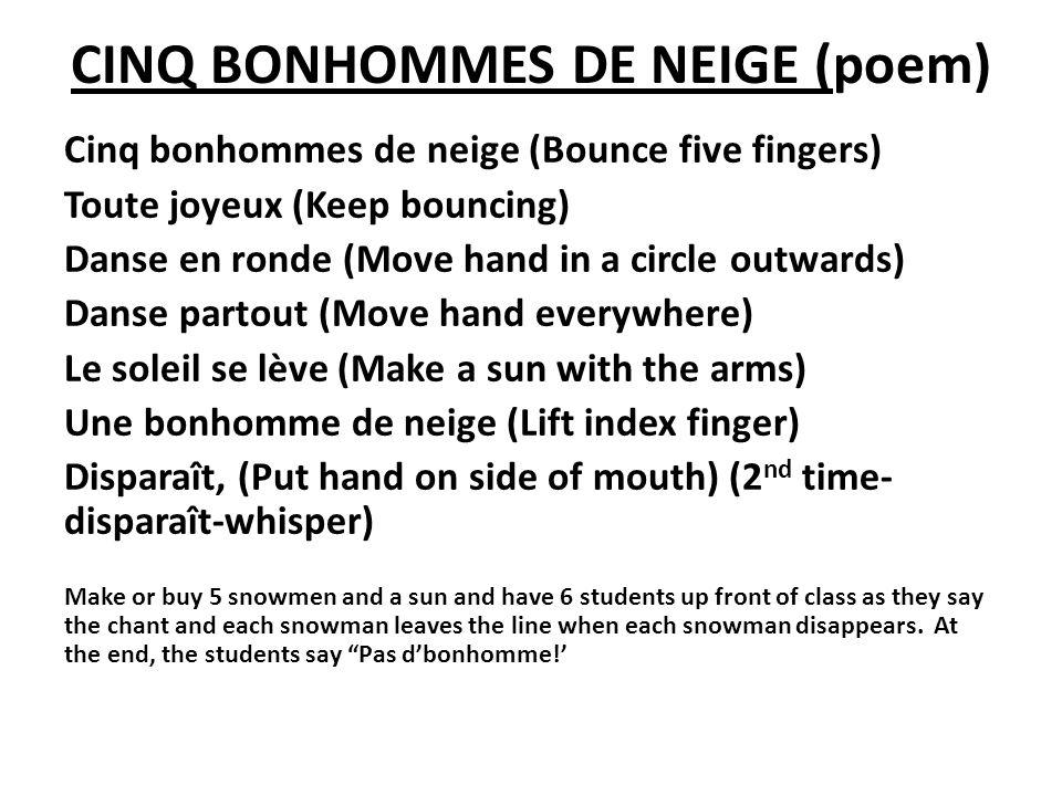 CINQ BONHOMMES DE NEIGE (poem) Cinq bonhommes de neige (Bounce five fingers) Toute joyeux (Keep bouncing) Danse en ronde (Move hand in a circle outwar
