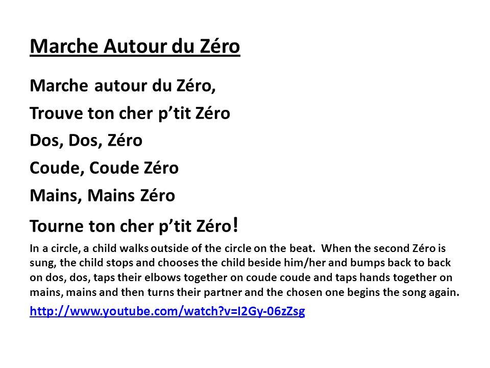 Marche Autour du Zéro Marche autour du Zéro, Trouve ton cher ptit Zéro Dos, Dos, Zéro Coude, Coude Zéro Mains, Mains Zéro Tourne ton cher ptit Zéro !