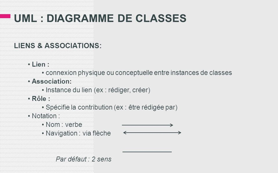UML : DIAGRAMME DE CLASSES LIENS & ASSOCIATIONS: Lien : connexion physique ou conceptuelle entre instances de classes Association: Instance du lien (e
