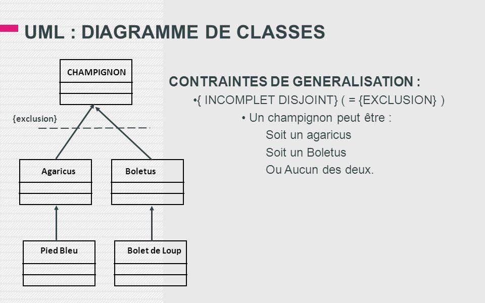 UML : DIAGRAMME DE CLASSES CONTRAINTES DE GENERALISATION : { INCOMPLET DISJOINT} ( = {EXCLUSION} ) Un champignon peut être : Soit un agaricus Soit un