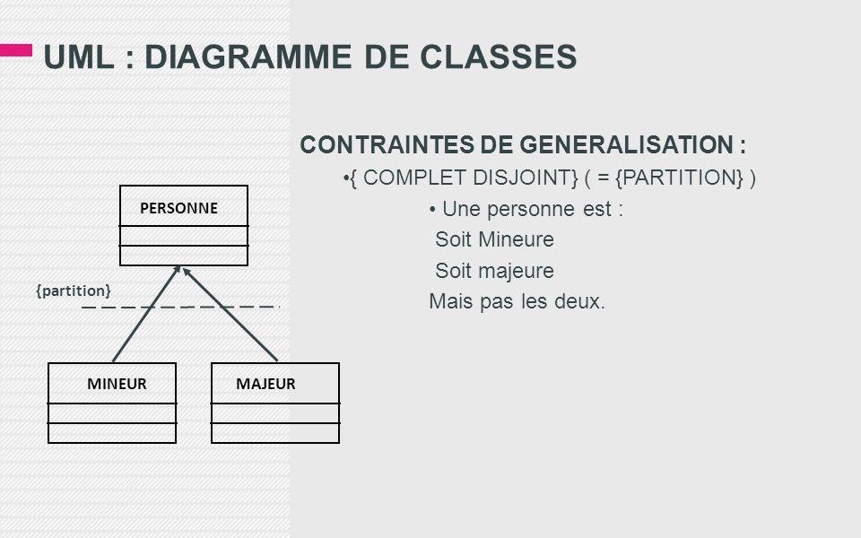 UML : DIAGRAMME DE CLASSES CONTRAINTES DE GENERALISATION : { COMPLET DISJOINT} ( = {PARTITION} ) Une personne est : Soit Mineure Soit majeure Mais pas