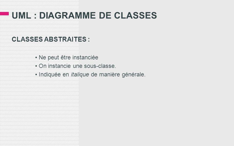 UML : DIAGRAMME DE CLASSES CLASSES ABSTRAITES : Ne peut être instanciée On instancie une sous-classe. Indiquée en italique de manière générale.