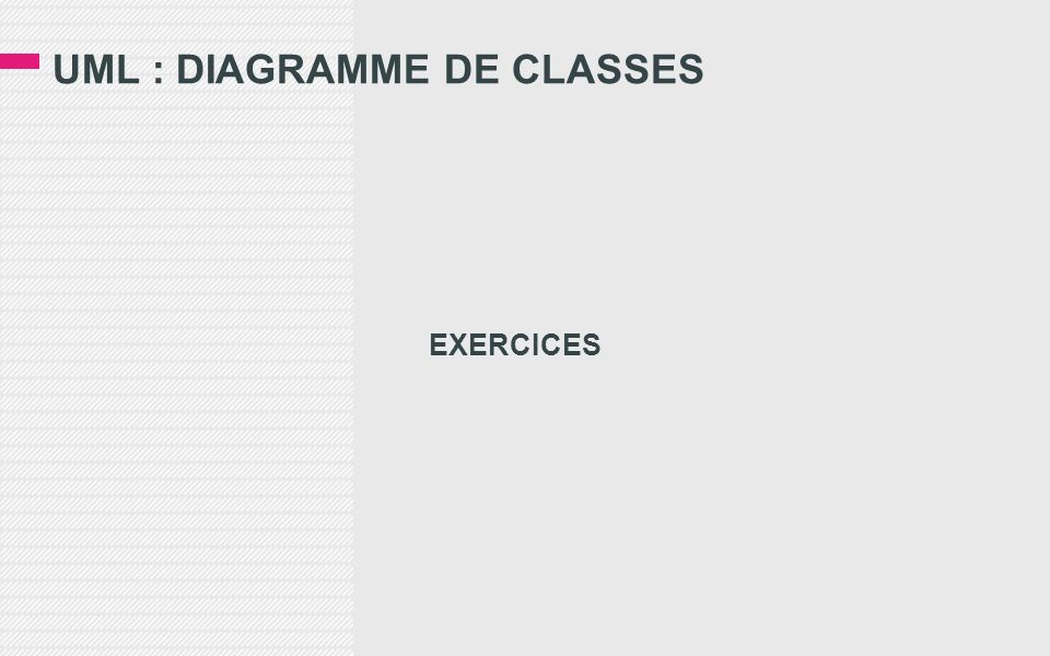 UML : DIAGRAMME DE CLASSES EXERCICES