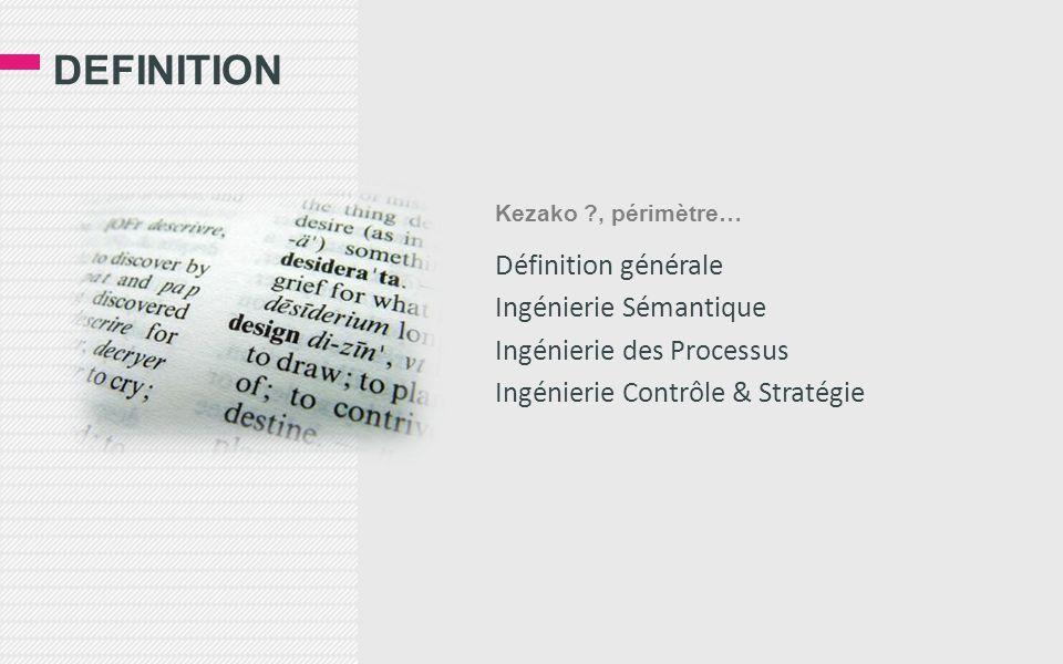 DEFINITION Définition générale Ingénierie Sémantique Ingénierie des Processus Ingénierie Contrôle & Stratégie Kezako ?, périmètre…