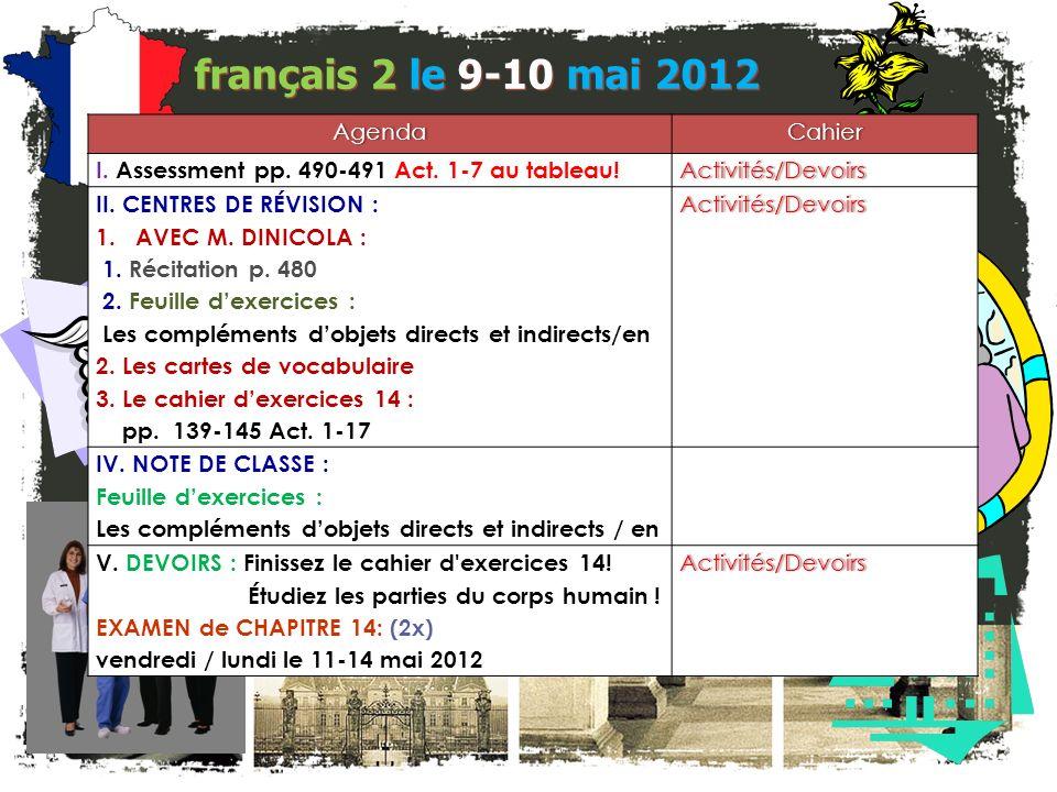 français 2 le 9-10 mai 2012 AgendaCahier I.Assessment pp.