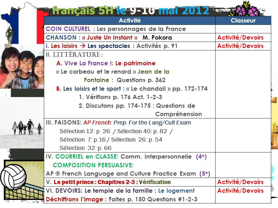 français 5H le 9-10 mai 2012 ActivitéClasseur COIN CULTUREL : Les personnages de la France CHANSON : « Juste Un Instant » M.