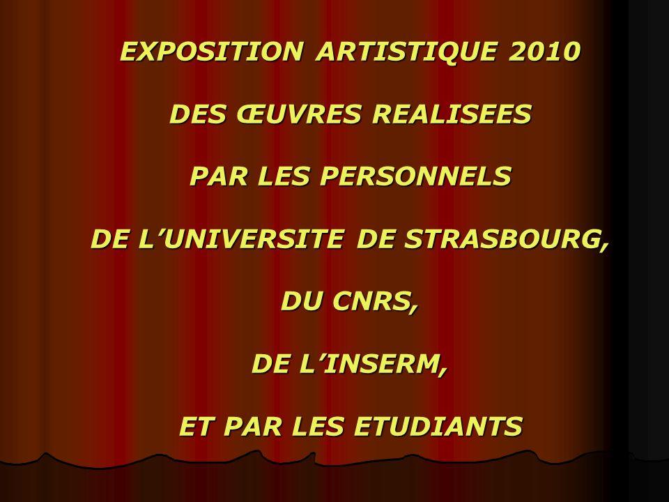 EXPOSITION ARTISTIQUE 2010 DES ŒUVRES REALISEES PAR LES PERSONNELS DE LUNIVERSITE DE STRASBOURG, DU CNRS, DE LINSERM, ET PAR LES ETUDIANTS