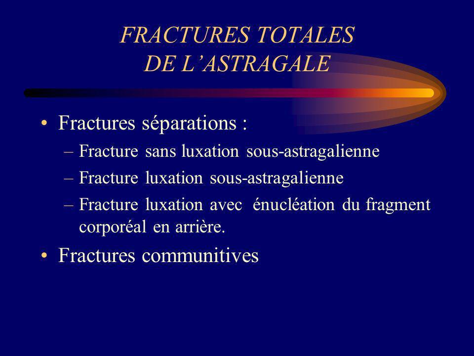 FRACTURES TOTALES DE LASTRAGALE Fractures séparations : –Fracture sans luxation sous-astragalienne –Fracture luxation sous-astragalienne –Fracture lux