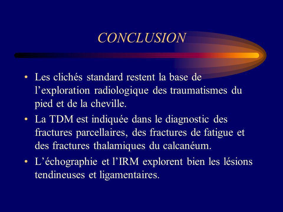 CONCLUSION Les clichés standard restent la base de lexploration radiologique des traumatismes du pied et de la cheville. La TDM est indiquée dans le d