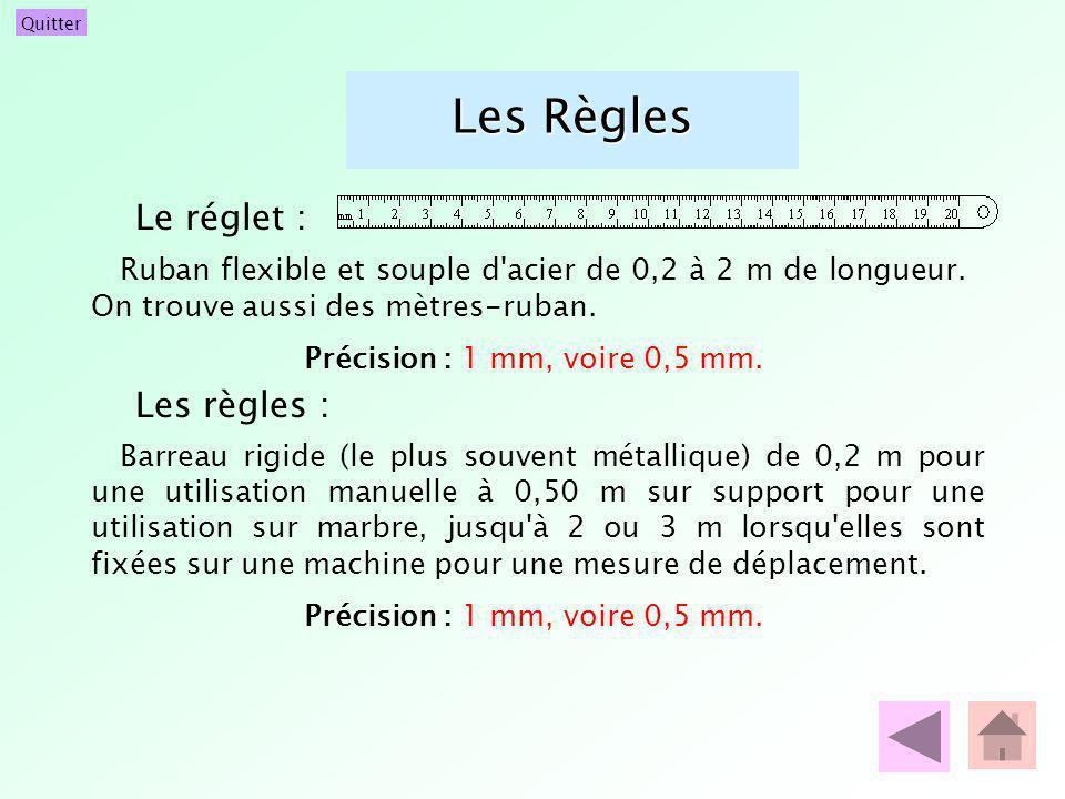 Quitter Les Règles Le réglet : Ruban flexible et souple d'acier de 0,2 à 2 m de longueur. On trouve aussi des mètres-ruban. Précision : 1 mm, voire 0,