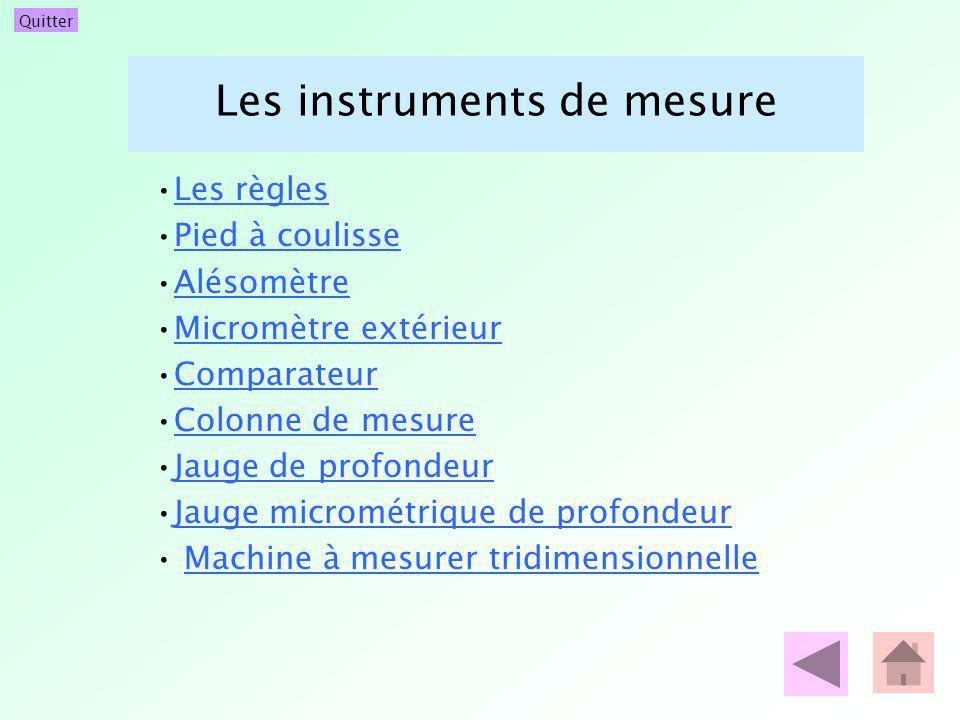 Quitter Les instruments de mesure Les règles Pied à coulisse Alésomètre Micromètre extérieur Comparateur Colonne de mesure Jauge de profondeur Jauge m