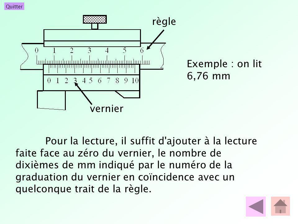 Quitter Pour la lecture, il suffit d'ajouter à la lecture faite face au zéro du vernier, le nombre de dixièmes de mm indiqué par le numéro de la gradu