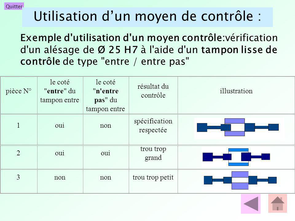 Quitter Utilisation dun moyen de contrôle : Exemple d'utilisation d'un moyen contrôle:vérification d'un alésage de Ø 25 H7 à l'aide d'un tampon lisse
