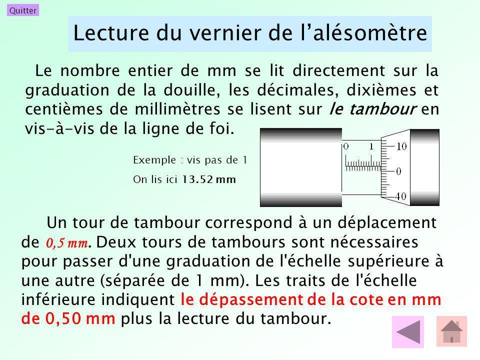 Quitter Lecture du vernier de lalésomètre Le nombre entier de mm se lit directement sur la graduation de la douille, les décimales, dixièmes et centiè