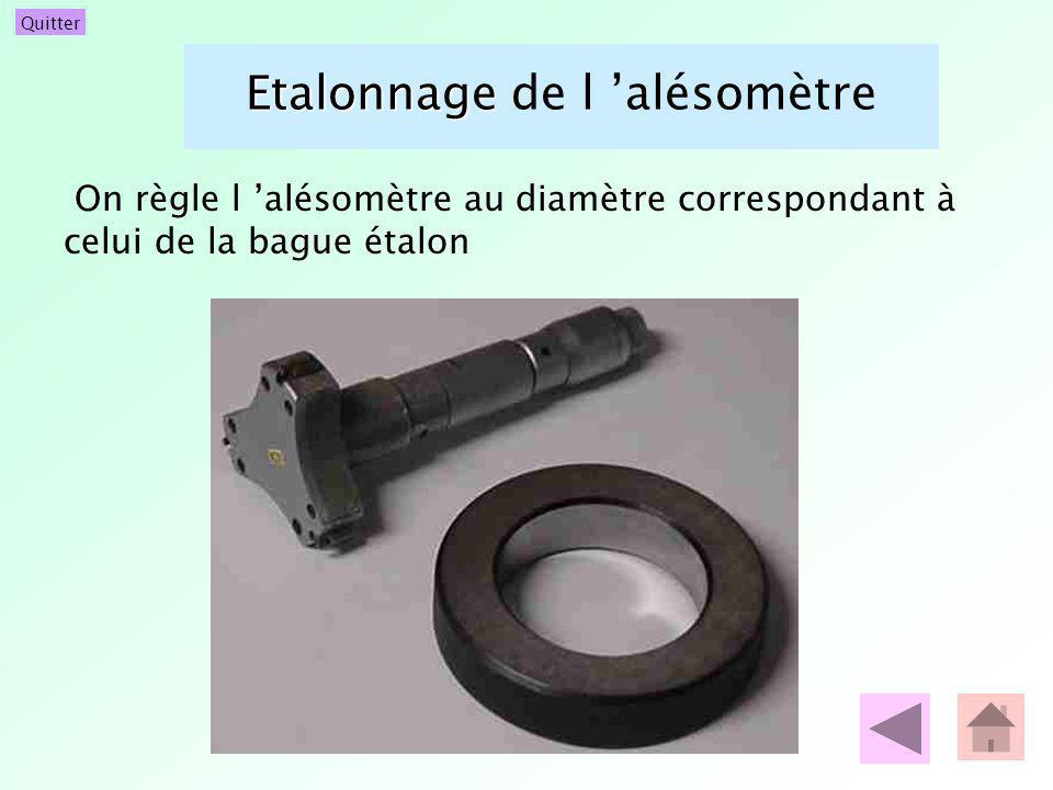 Quitter Etalonnage Etalonnage de l alésomètre On règle l alésomètre au diamètre correspondant à celui de la bague étalon