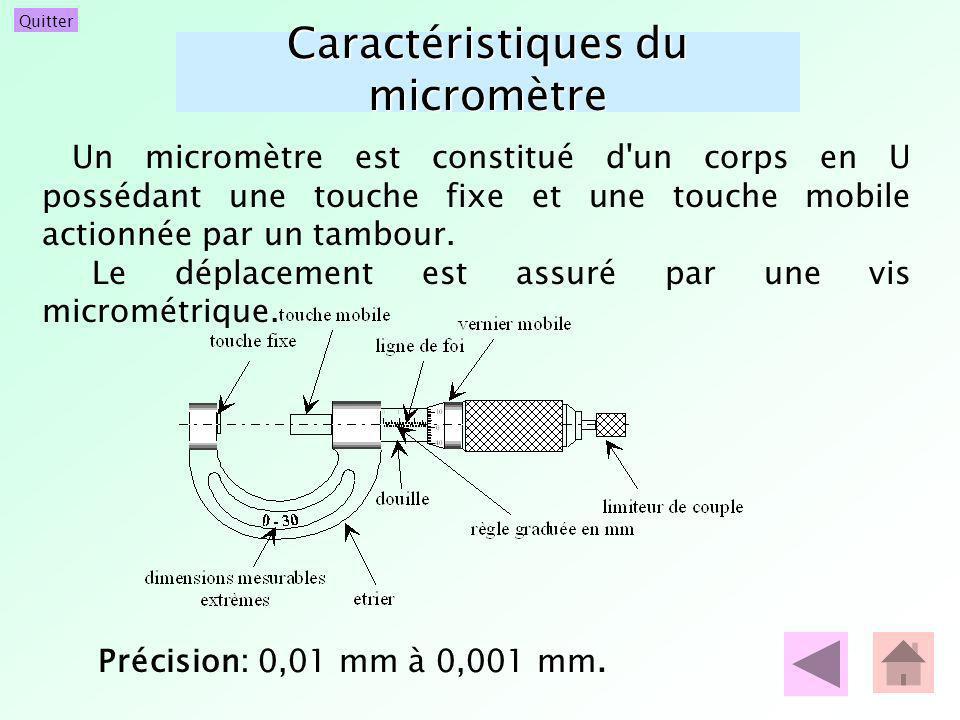 Quitter Caractéristiques du micromètre Un micromètre est constitué d'un corps en U possédant une touche fixe et une touche mobile actionnée par un tam