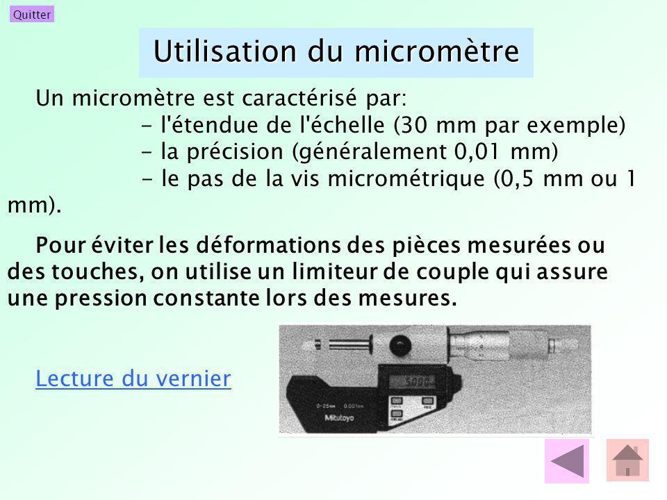 Utilisation du micromètre Un micromètre est caractérisé par: - l'étendue de l'échelle (30 mm par exemple) - la précision (généralement 0,01 mm) - le p