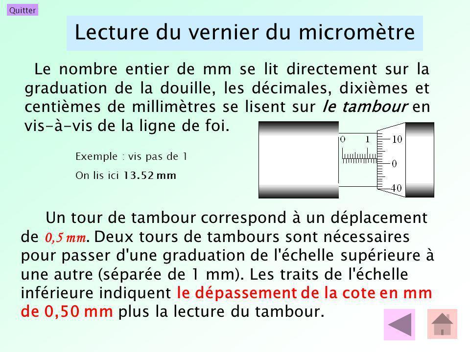Quitter Lecture du vernier du micromètre Le nombre entier de mm se lit directement sur la graduation de la douille, les décimales, dixièmes et centièm
