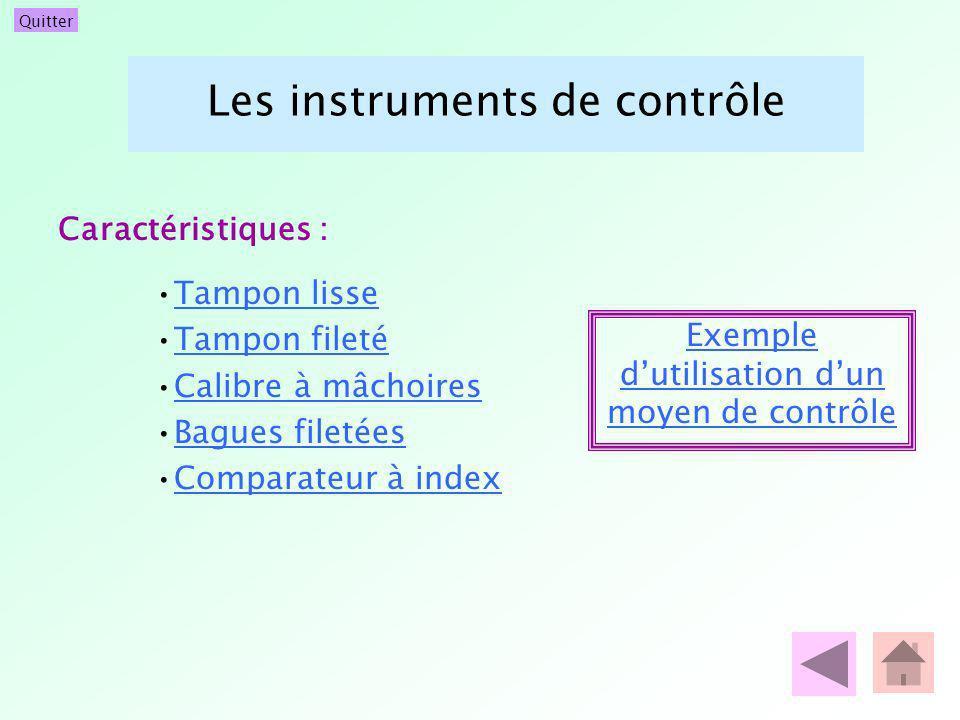 Quitter Les instruments de contrôle Tampon lisse Tampon fileté Calibre à mâchoires Bagues filetées Comparateur à index Exemple dutilisation dun moyen