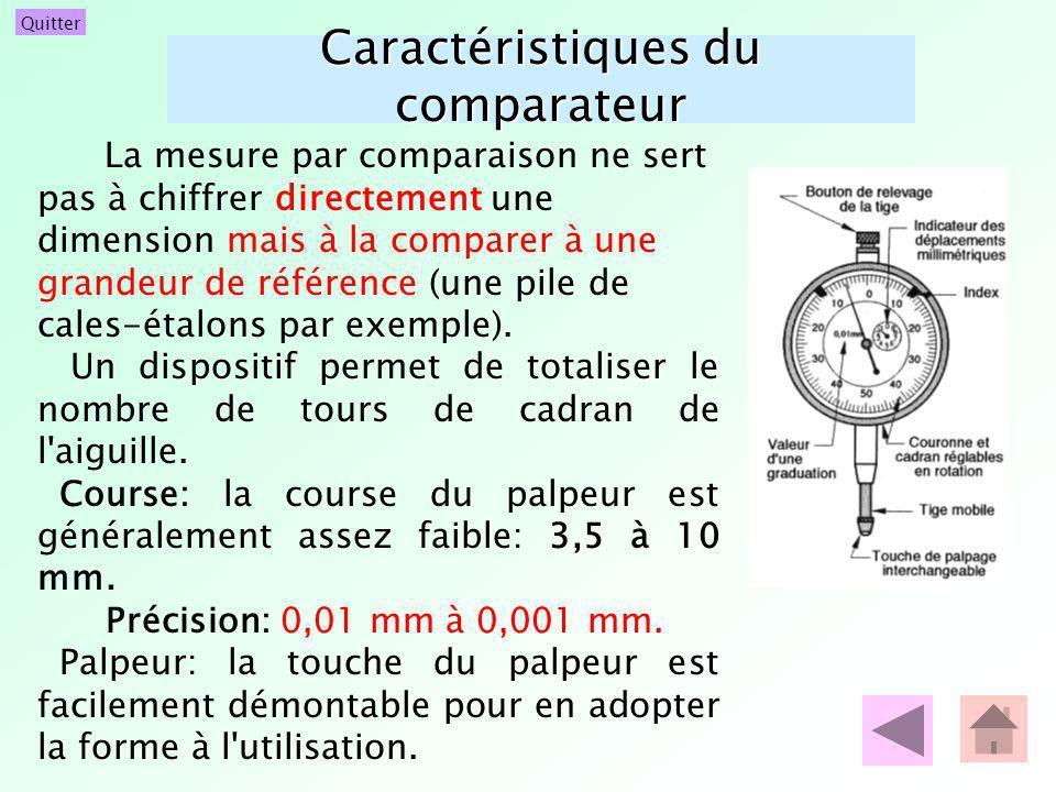 Quitter Caractéristiques du comparateur La mesure par comparaison ne sert pas à chiffrer directement une dimension mais à la comparer à une grandeur d