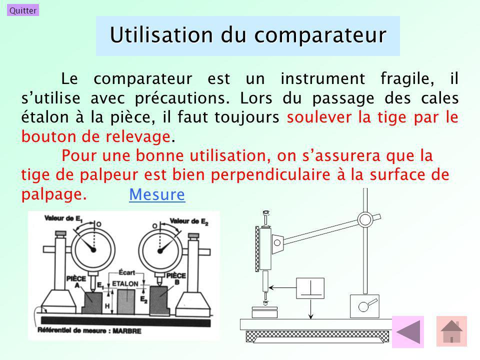 Utilisation du comparateur Le comparateur est un instrument fragile, il sutilise avec précautions. Lors du passage des cales étalon à la pièce, il fau