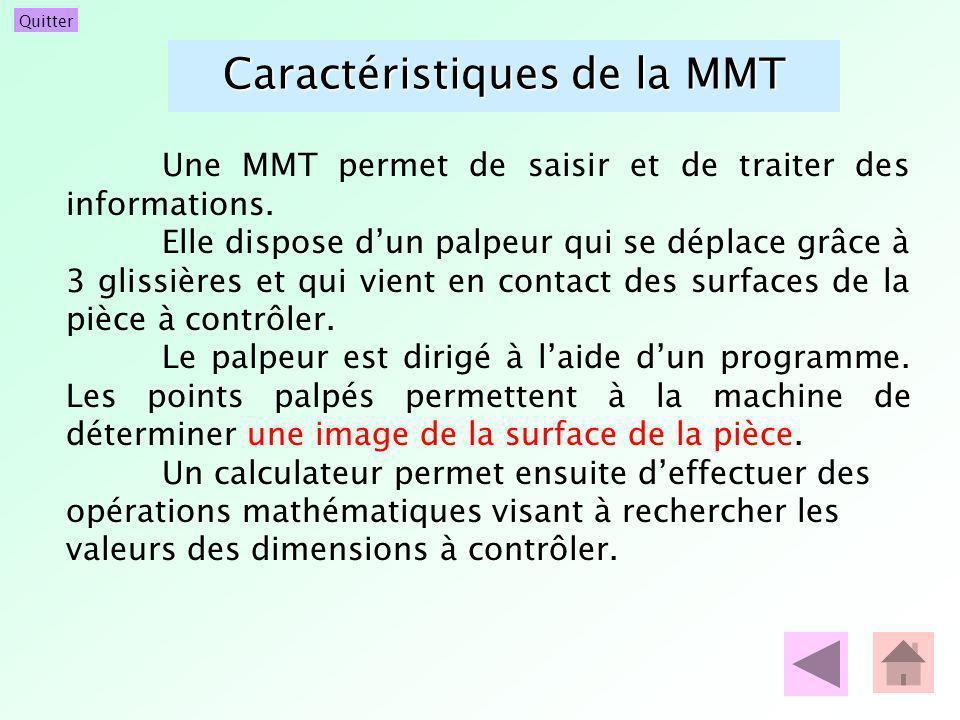 Quitter Caractéristiques de la MMT Une MMT permet de saisir et de traiter des informations. Elle dispose dun palpeur qui se déplace grâce à 3 glissièr