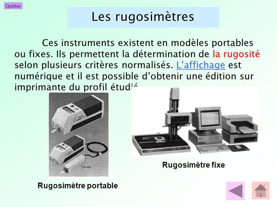 Quitter Les rugosimètres Ces instruments existent en modèles portables ou fixes. Ils permettent la détermination de la rugosité selon plusieurs critèr