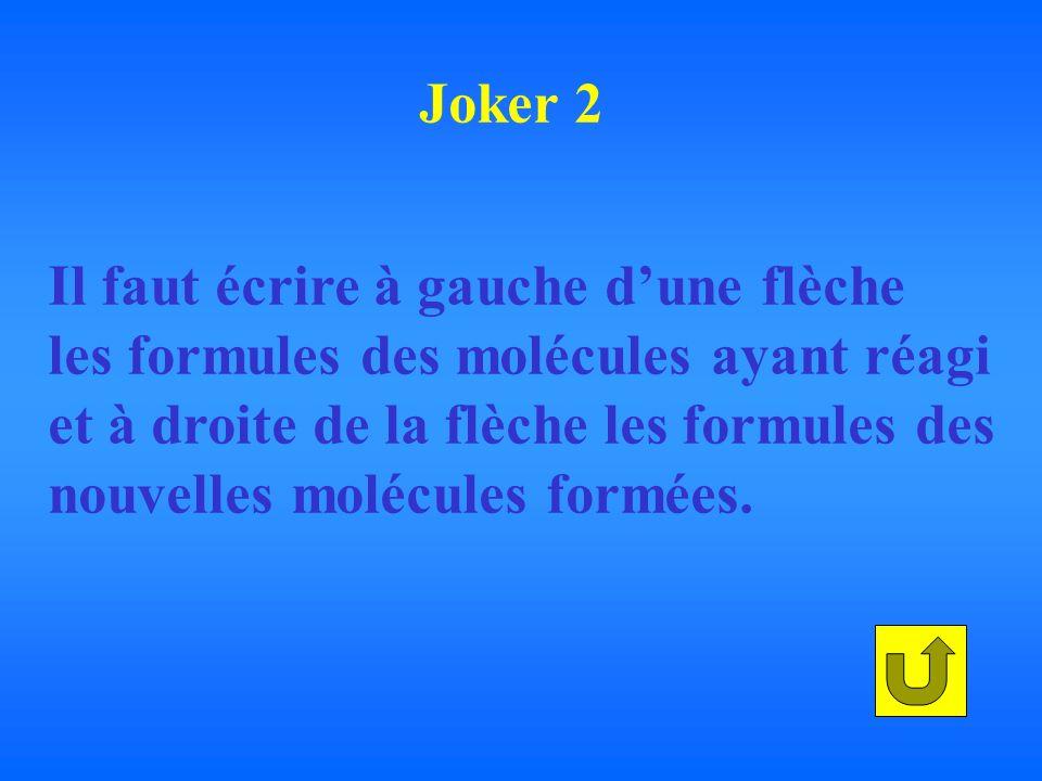 Il faut écrire à gauche dune flèche les formules des molécules ayant réagi et à droite de la flèche les formules des nouvelles molécules formées.