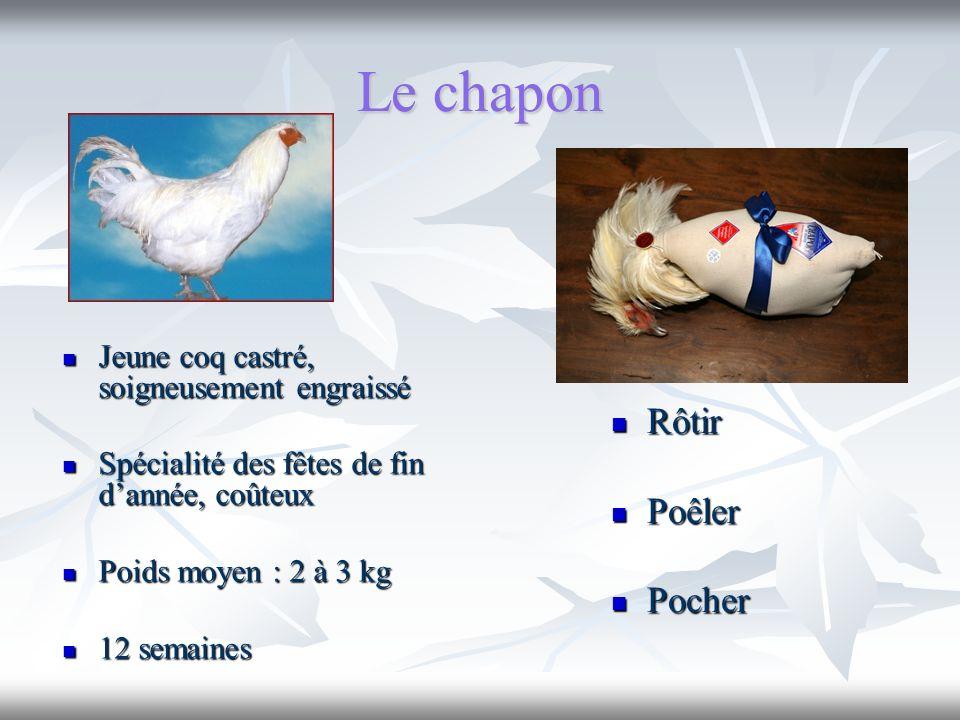 Le chapon Rôtir Rôtir Poêler Poêler Pocher Pocher Jeune coq castré, soigneusement engraissé Jeune coq castré, soigneusement engraissé Spécialité des f