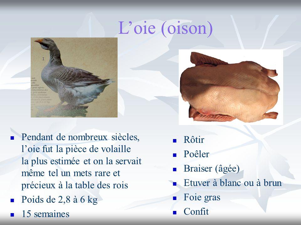Loie (oison) Pendant de nombreux siècles, loie fut la pièce de volaille la plus estimée et on la servait même tel un mets rare et précieux à la table