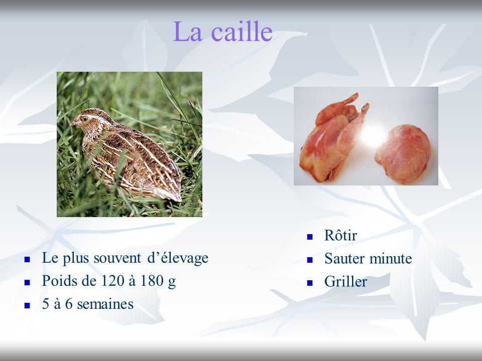 La caille Le plus souvent délevage Poids de 120 à 180 g 5 à 6 semaines Rôtir Sauter minute Griller