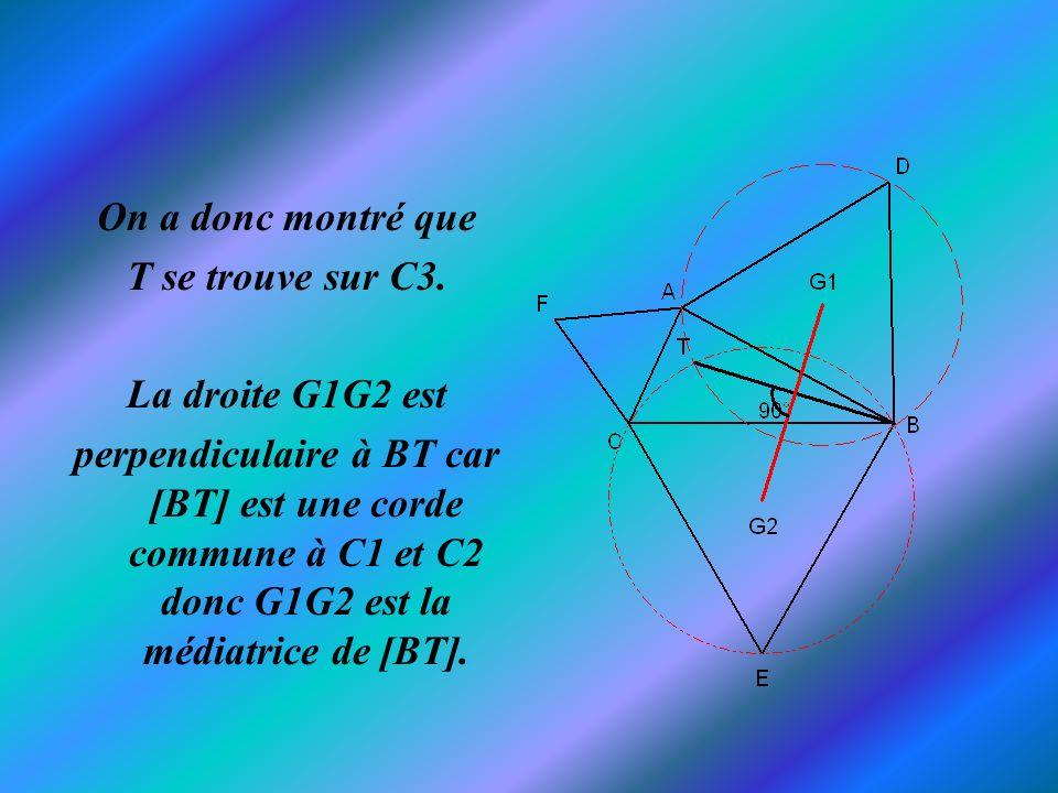 On a donc montré que T se trouve sur C3. La droite G1G2 est perpendiculaire à BT car [BT] est une corde commune à C1 et C2 donc G1G2 est la médiatrice