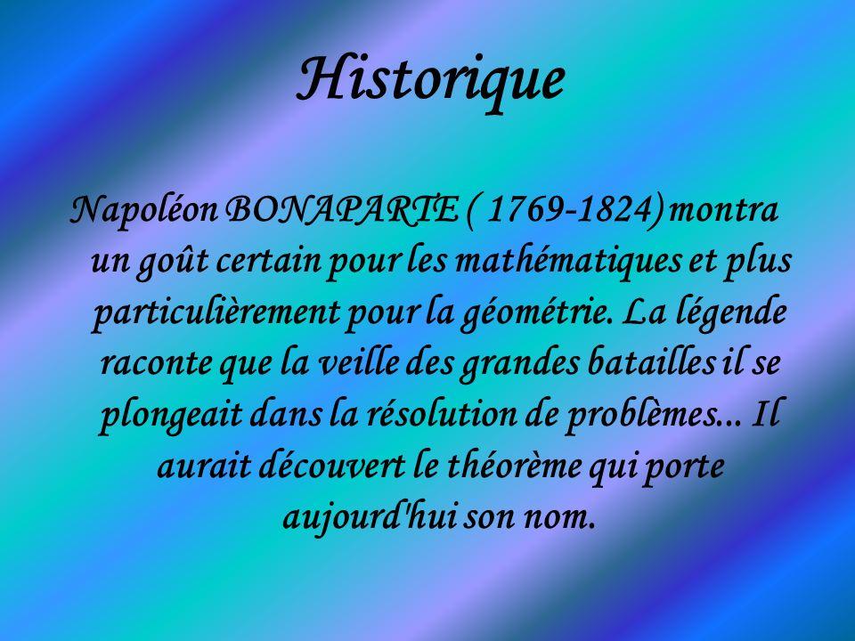 En géométrie Le théorème de Napoléon dit que si l on construit trois triangles équilatéraux à partir de chaque côté d un triangle quelconque (tous à l extérieur ou tous à l intérieur), les centres de ces triangles équilatéraux forment eux-mêmes un triangle équilatéral.