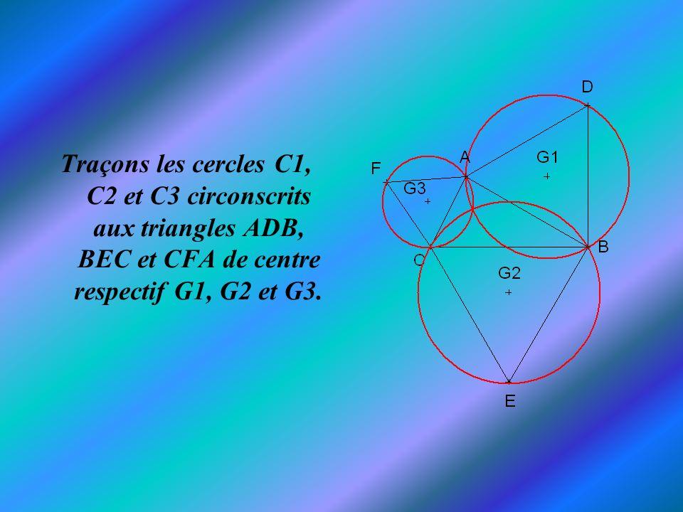 Ces trois cercles sont concourants en un point T.