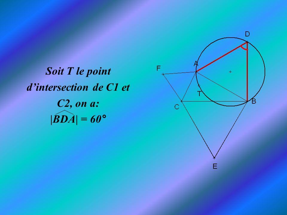 Comme|BTA| intercepte le même arc BA que|BDA| de C1 on a: |BTA| = 120°.