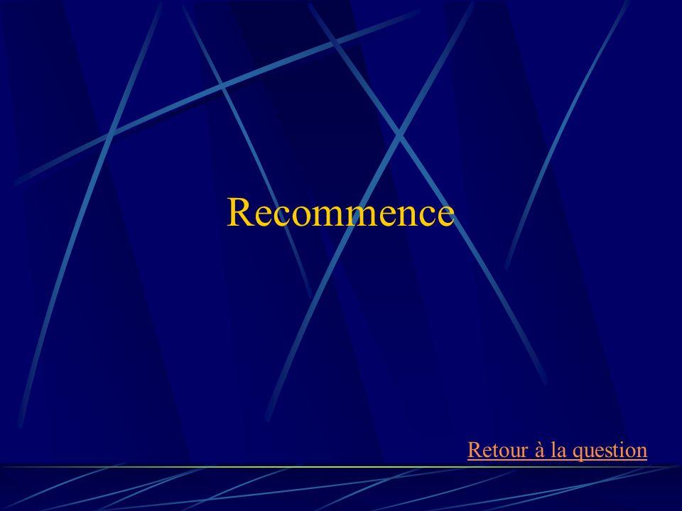 Recommence Retour à la question