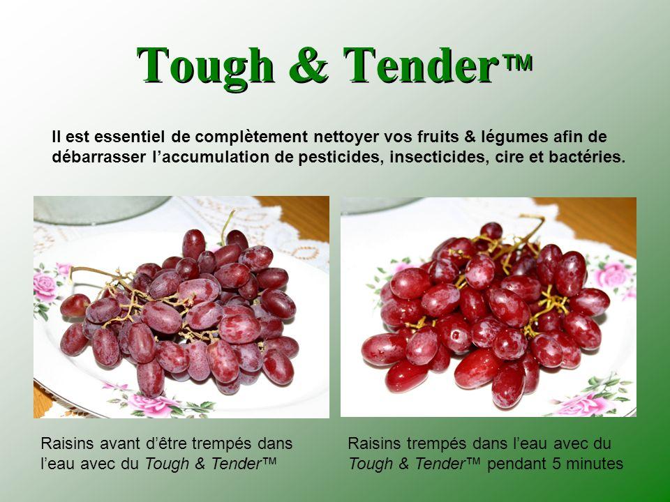 Tough & Tender Raisins avant dêtre trempés dans leau avec du Tough & Tender Raisins trempés dans leau avec du Tough & Tender pendant 5 minutes Il est