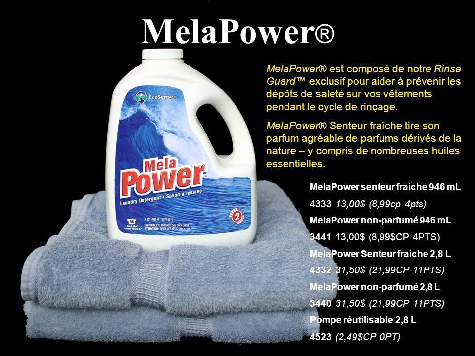 MelaPower ® MelaPower® est composé de notre Rinse Guard exclusif pour aider à prévenir les dépôts de saleté sur vos vêtements pendant le cycle de rinç