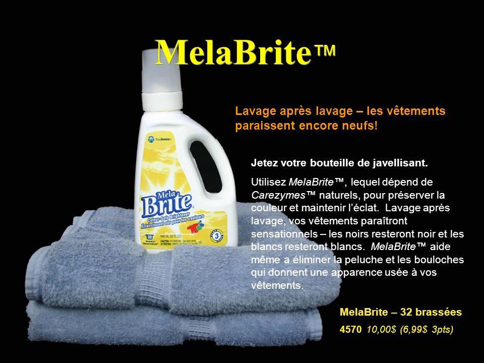 MelaBrite Lavage après lavage – les vêtements paraissent encore neufs! Jetez votre bouteille de javellisant. Utilisez MelaBrite, lequel dépend de Care