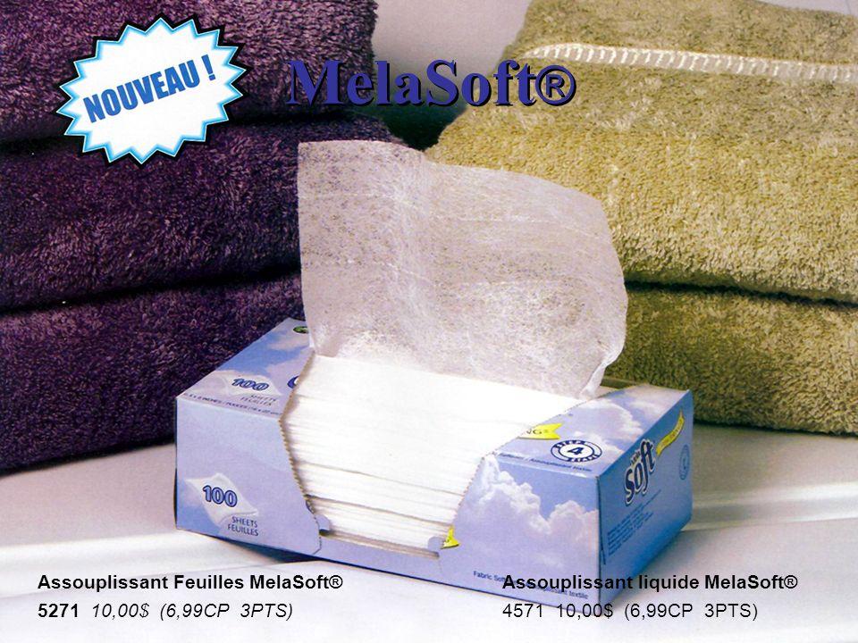 MelaSoft ® Assouplissant Feuilles MelaSoft® 5271 10,00$ (6,99CP 3PTS) Assouplissant liquide MelaSoft® 4571 10,00$ (6,99CP 3PTS)