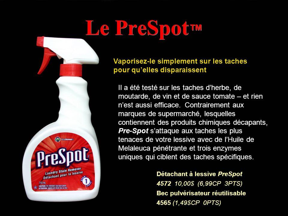 Le PreSpot Vaporisez-le simplement sur les taches pour quelles disparaissent Il a été testé sur les taches dherbe, de moutarde, de vin et de sauce tom