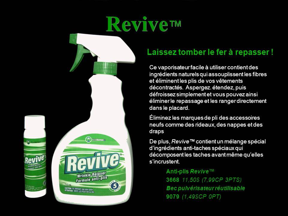 Revive Laissez tomber le fer à repasser ! Ce vaporisateur facile à utiliser contient des ingrédients naturels qui assouplissent les fibres et éliminen