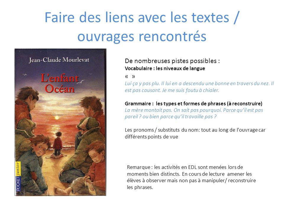 Faire des liens avec les textes / ouvrages rencontrés De nombreuses pistes possibles : Vocabulaire : les niveaux de langue « » Lui ça y pas plu. Il lu