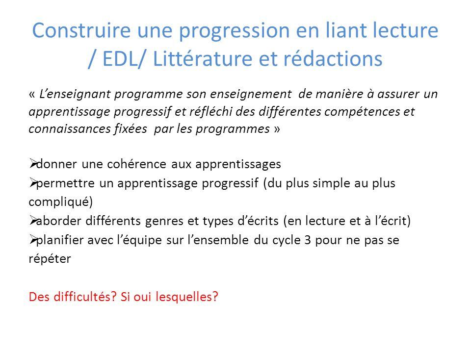 Construire une progression en liant lecture / EDL/ Littérature et rédactions « Lenseignant programme son enseignement de manière à assurer un apprenti